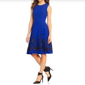 Calvin Klein Embroidered Fit & Flare Crepe Dress